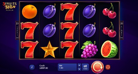3 Fruits Win: 10 Lines Adjacent slot UK