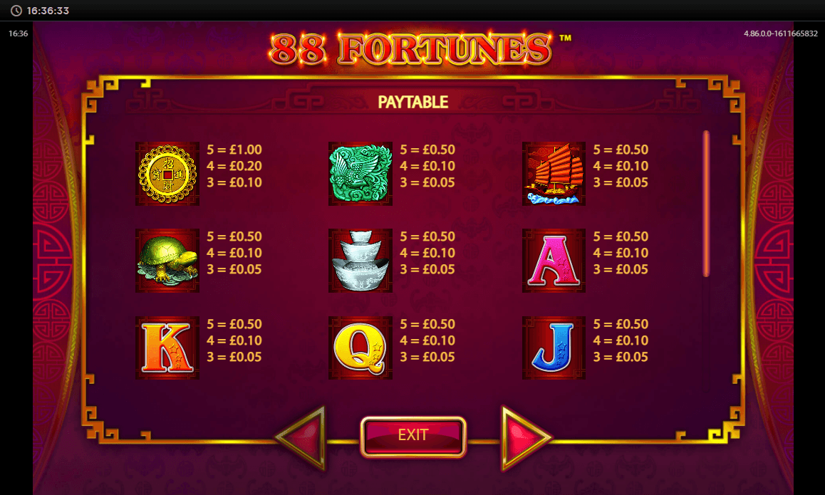 88 Fortunes Bonus Round Feature