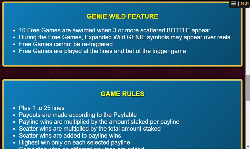 Genie Wild Bonus Feature